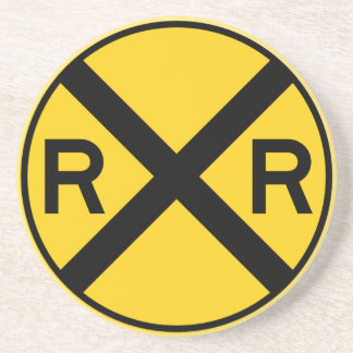 Railroad Crossing Highway Sign Coasters