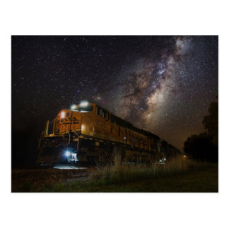 Railroad Locomotive Against A Starry Sky Postcard