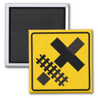 Railroad Parallels Main Road at Crossroad Sign Refrigerator Magnets