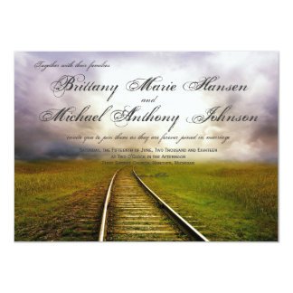 Railroad Path in Field Country Wedding Invitations