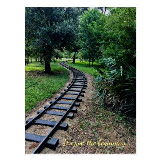 Railroad path postcard