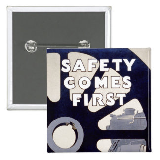 Railroad Safety Comes First Vintage 15 Cm Square Badge