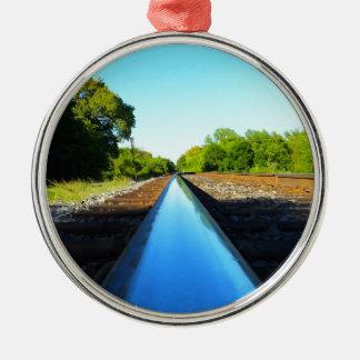 Railroad track Silver-Colored round decoration