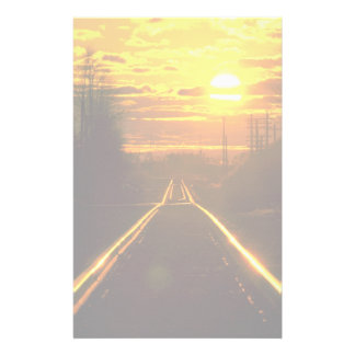 Railroad tracks at sunset, upstate New York Stationery