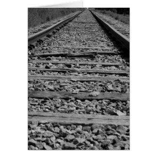 Railroad tracks black and white card