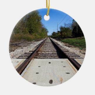 Railroad Tracks Circle-Shaped Ornament