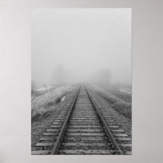 railroad tracks fade into the morning fog poster