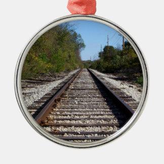 Railroad Tracks Photo on Circle Ornament