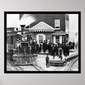 Railroad Train Crowd at Hanover Junction, PA 1863 Poster