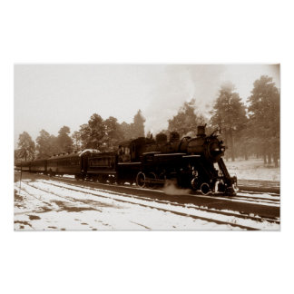 Railroad Train Locomotive In Snowy Winter Scene Poster