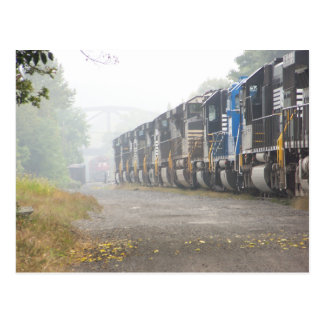 Railroad  Train Locomotives In The Mist Postcards