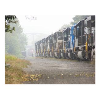 Railroad  Train Locomotives In The Mist Postcard