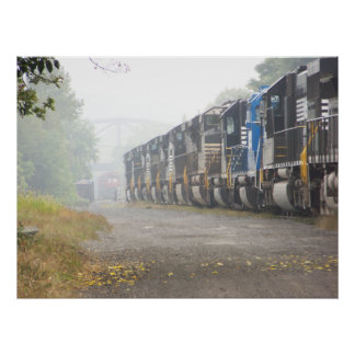 Railroad Train Locomotives In The Mist Poster