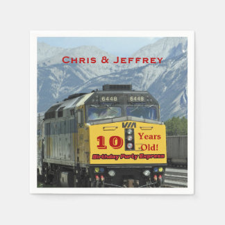 Railroad Train Paper Napkins, Twins 10th Birthday Disposable Serviette