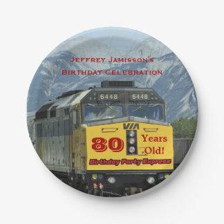 Railroad Train Paper Plates, 80th Birthday, Custom 7 Inch Paper Plate