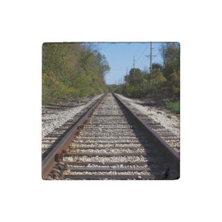 Railroad Train Tracks Photo Stone Magnet