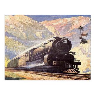 railroad train vintage retro locomotive tourism postcard