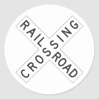 RailroadCrossing Sign Round Sticker
