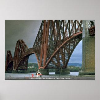Railway bridge over the Firth of Forth near Edinbu Poster