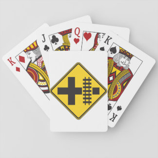 Railway Crossing Road Sign Playing Cards