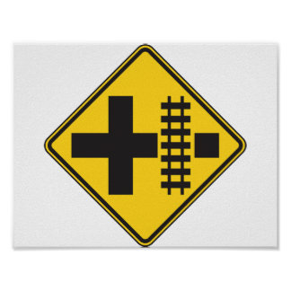 Railway Crossing Road Sign Poster