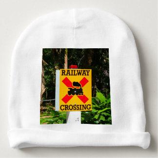 Railway crossing sign baby beanie