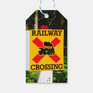 Railway crossing sign gift tags