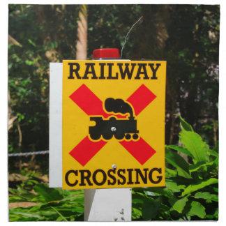 Railway crossing sign napkin