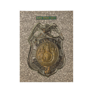 Railway Express Police Badge Wood Poster