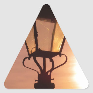 RAILWAY LANTERN SUNSET Triangle Sticker