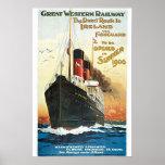 Railway Oceanliner Ireland Vintage Travel Poster