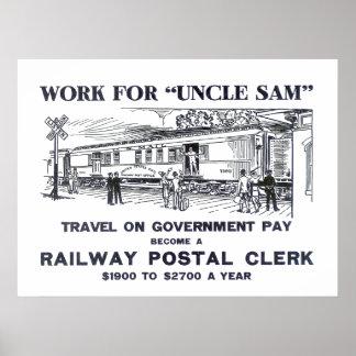 Railway Postal Clerk  1926 Poster