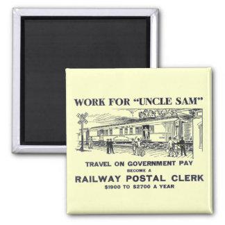 Railway Postal Clerk 1926 Square Magnet