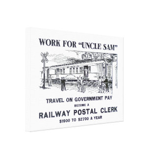 Railway Postal Clerk 1926 Wrapped Canvas Poster
