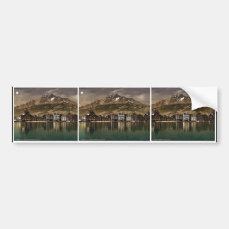 Railway station and Pilatus by moonlight Lucerne Bumper Stickers