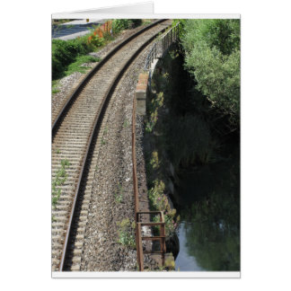Railway tracks along the river Serchio near Lucca Card