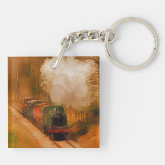 Railway Train Spotters Steam Engine & Smoke Key Ring