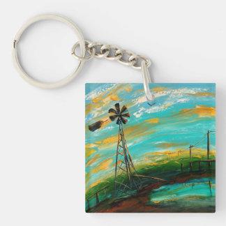 Rain and Sundown Single-Sided Square Acrylic Key Ring