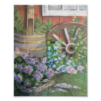 Rain Barrel and Wagon Wheel Photo Print