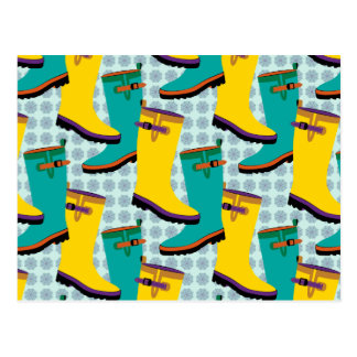 Rain Boots Colorful Postcard