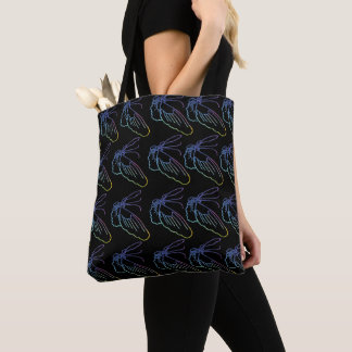 rain bow butterfly tote bag