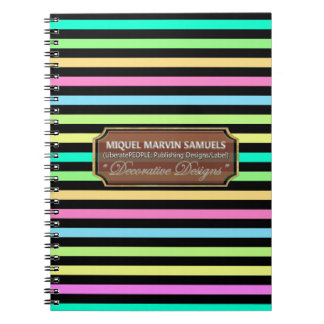 Rain Bow Stripes Night Decorated Modern Notebook