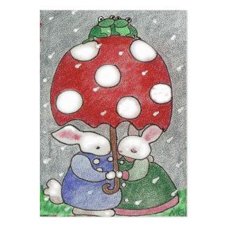 rain bunnies tiny valentine pack of chubby business cards