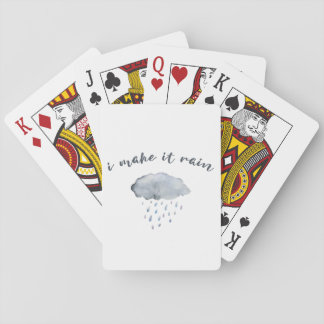 "Rain Cloud Art with Quote ""I Make It Rain"" Playing Cards"