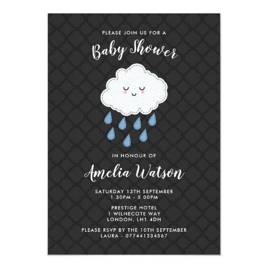 Rain Cloud themed Baby Shower Invitations