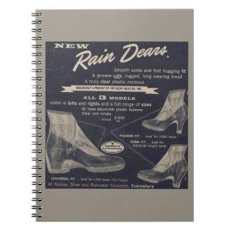 Rain Dears - Vintage 1950's transparent boots Notebooks