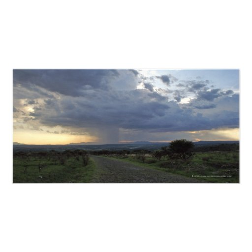 Rain Downpour Over Guanajuato Plains Mexico Photo Card Template