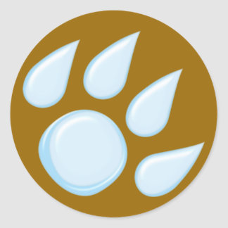 Rain drop paw raindrop paw classic round sticker