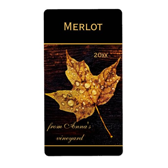 Rain drops on yellow maple leaf shipping label