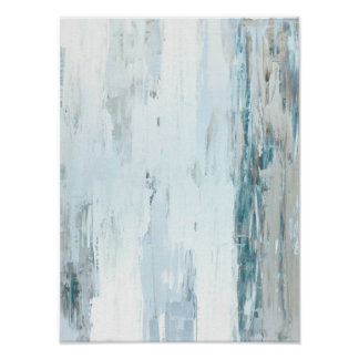 'Rain Drops' Teal and Beige Abstract Art Poster